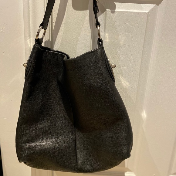 Coach Black Pebble Leather Shoulder Bag